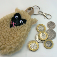 Sheep coin purse ( can be clipped onto handbag)