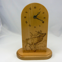 Mantle clock with pyrographed stag on