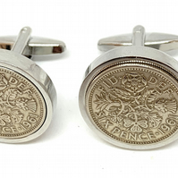 Luxury 1961 Sixpence Cufflinks for a 60th birthday. Original british sixpences i