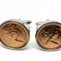 1981 40th Birthday Anniversary 1 pence coin cufflinks - One pence cufflinks from