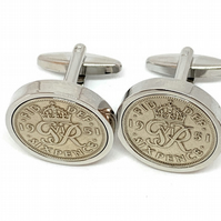 Luxury 1951 Sixpence Cufflinks for a 70th birthday. Original British sixpences