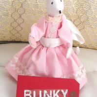 Handmade pink Mouse doll in a pink and white dress soft toy handmade new