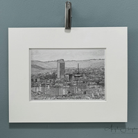 Mono Photograph Sheffield Overview with Derbyshire Hills