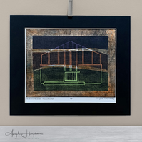 Multicoloured Greenhouse Woodcut Print with Chine Colle