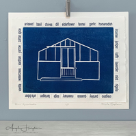 Blue Greenhouse Woodcut Print with A-Z Herbs and Spices