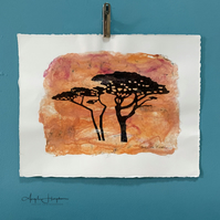 Sunset Trees Drawing Printed on  Handmade Bright Orange Silk Paper