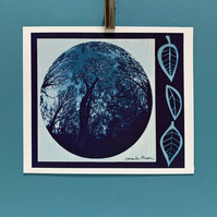 Tree in the Moon Blue Cyanotype Blueprint Print