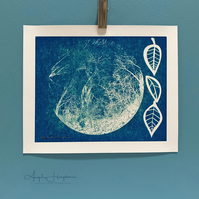 Blue Cyanotype Print on Canvas - Tree in the Moon with Leaves