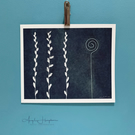 Grasses and Labyrinth Cyanotype Print