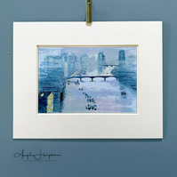 Inkjet Print of Watercolour Pastel - Impressionist Thames London