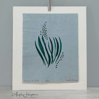 Original Silk Screen Print on Blue - Leaves of Grass