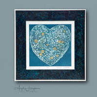 Collograph Print Hearts and Bones Gold