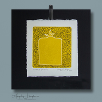 Original Linoprint with Pen and Ink Bottled Yellow