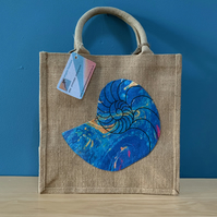 Jute Reusable Bag with Unique Marbled Nautilus Design