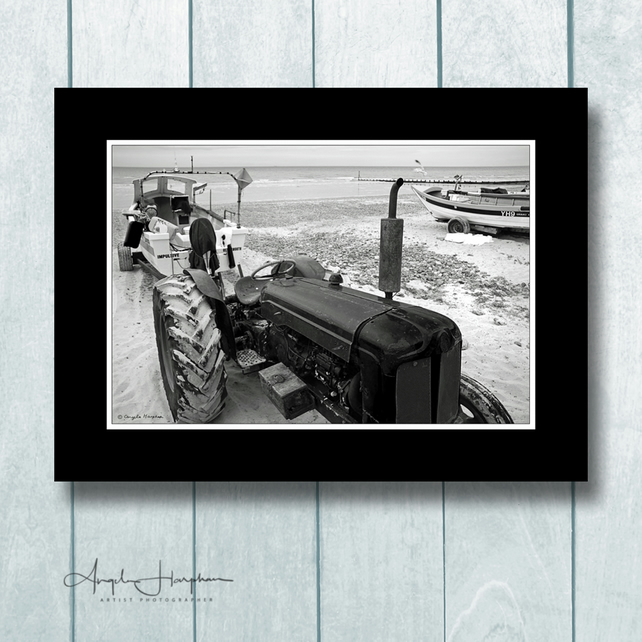 Cromer Norfolk Fine Art Photograph Tractor Boat Mono Vintage Effect