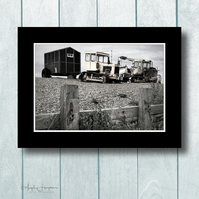 Art Photograph Norfolk Tractors and Hut Shingle Beach Vintage Effect