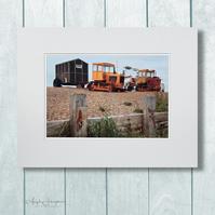 Bright Tractors Fine Art Photograph Norfolk Shingle Bank