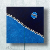 Mixed Media Painting with Etchings Box Canvas - Ocean Moon