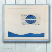 Mixed Media Acrylic Painting with Linoprint - Sea Echoing