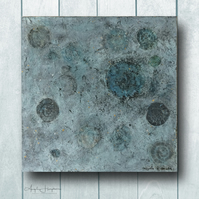 Mixed Media Box Frame Artwork with Lino Prints Ammonites - Ancient Seas
