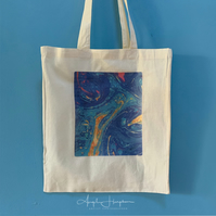Cotton Canvas Tote Bag with Original Marbled Design
