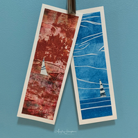 Two Pack Blank Cards - Hand Printed Design Sea with Yacht