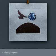 Etching on Blue Handmade Paper with Photo Collage - Raven Moon