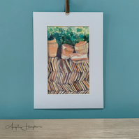 Vezelay Plant Pots and Tiles Watercolour Painting