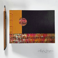 Handmade Notebook Journal A6 Orange Brown with Sheet Music Cover