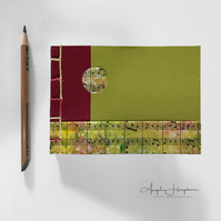 Handmade Notebook A6 Red Lime Green with Sheet Music Cover
