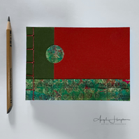 Small Handmade Blank Journal Notebook A6 Red and Green A6