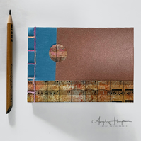 Small A6 hand made Blank Journal Notebook Blue and Sandy Brown