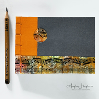 Handmade Orange and Grey A6 Blank Journal Notebook