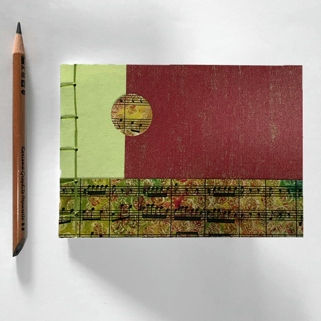 A6 Handmade Notebook Journal Lime Rust Gold with Sheet Music Cover