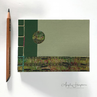 Small A6 Hand Made Blank Notebook Journal Green and Cream Cover