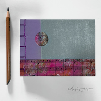 Handmade Notebook A6 Mauve Silver with Sheet Music Cover