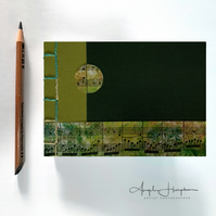A6 Blank Handmade Notebook Journal - Lime Dark Green Cover with Sheet Music