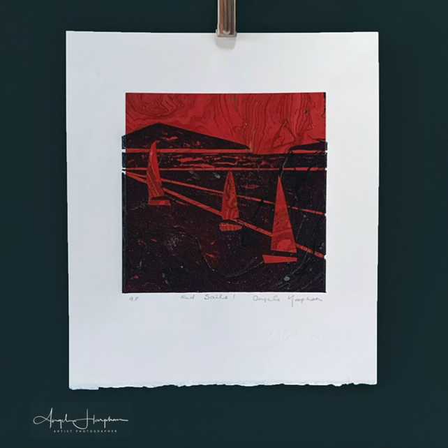 Striking Red Sails Lino Print with Marbled Paper Chine Colle