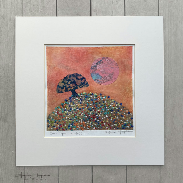 Hand Printed Etching with Hand Embroidery and Collaged prints