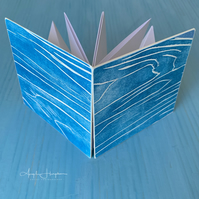 "Square Small ""Surprise"" Pop Out Blank Book with Woodcut Print Covers"