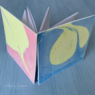 Square 'Surprise' Pop Out Blank Book - Hand Marbled Paper Covers