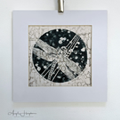 Lino Print Dragonfly Moon with Stencil Print Background