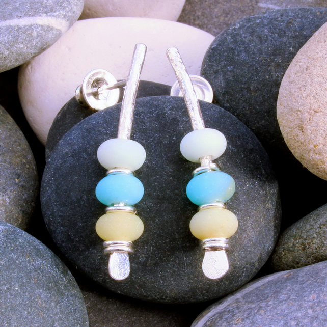 Seaside inspired earrings, pastel colours, natural colours, sea, pebbles