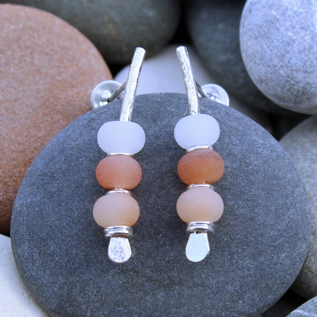 Seaside earrings, pink pastel colours, natural handmade jewellery, pebble