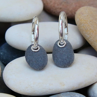 Pebble earrings, stone earrings, natural earrings, handmade, seaside, sleeper