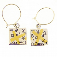 Keum boo earrings, silver and gold, drop earrings, square earrings, handmade