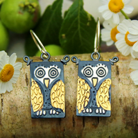 Owl Earrings, bird earrings, animal earrings, gold and silver earrings, keum boo