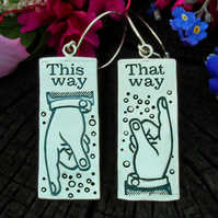 pointing finger earrings, letterpress printmaking sign earrings