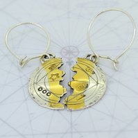 Keum boo earrings, silver and gold earrings, round earrings, halved earrings,