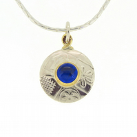 Round silver pendant, blue opal, blue stone necklace, handmade, embossed
